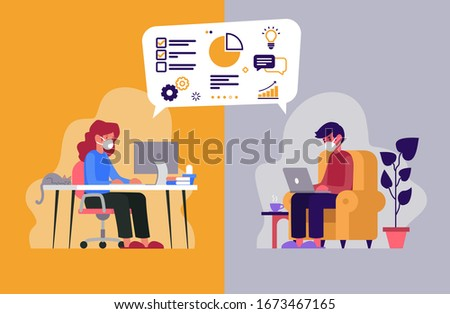 Vector illustration of two workers telecommuting from their homes because of the coronavirus Stock photo ©
