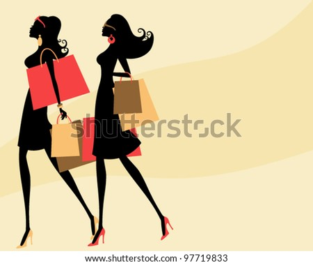 Vector illustration of two young fashionable women shopping.