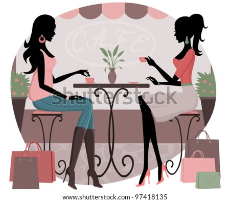 Vector illustration of two young women having coffee after a day of shopping. Raster version also available.