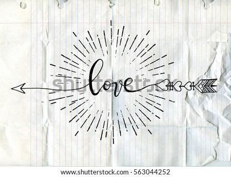 Vector illustration of typography word sign LOVE, arrow isolated with sunbursts in vintage style for Valentines day greeting print