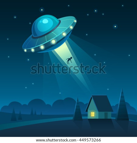 vector illustration of ufo in