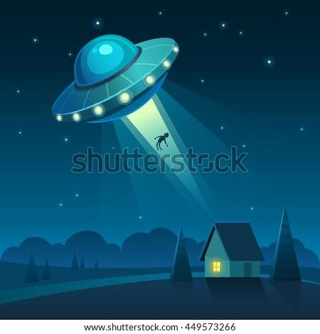 vector illustration of ufo in