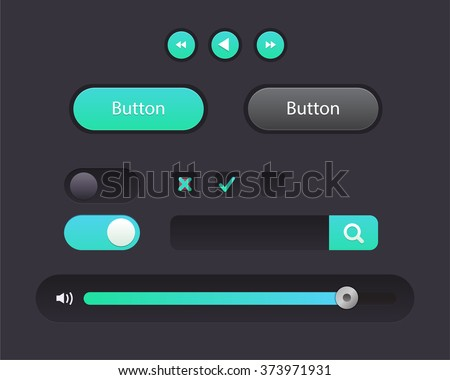 Vector Illustration of UI kit. Active button, non-activ button, check button, slider, search area