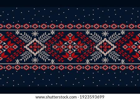 Vector illustration of Ukrainian folk seamless pattern ornament. Ethnic ornament. Border element. Traditional Ukrainian, Belarusian folk art knitted embroidery pattern - Vyshyvanka Photo stock ©