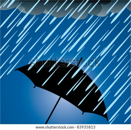 vector illustration of umbrella protection from heavy rain
