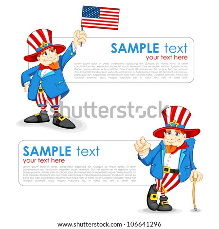 vector illustration of Uncle Sam with American Flag