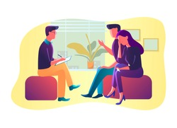 Vector Illustration of Unhappy family couple characters talking to male psychologist about their problems, psychotherapy counseling, psychologist having session with patients