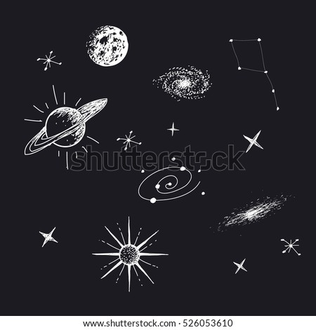 Vector illustration of universe with galaxy,planets,stars,constellation. Hand drawn style .Set of galactic objects