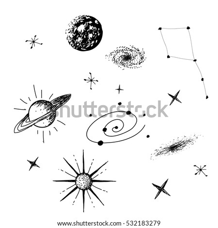 Stock Photo Vector illustration of universe with galaxy,planets,stars,constellation on white background. Hand drawn style .Set of galactic objects