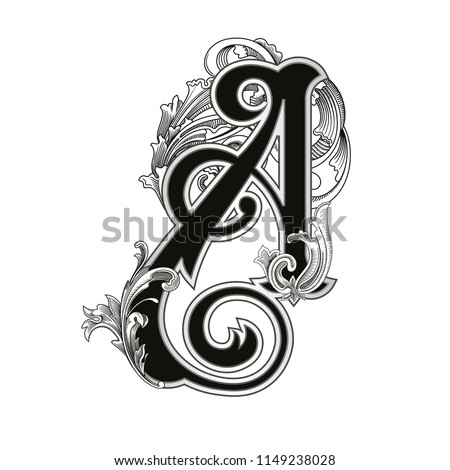 Vector illustration of uppercase letter A  with decorations isolated on white background.Antique Letter with baroque ornamentation. Elegant black capital letter to use monograms, logos,emblems