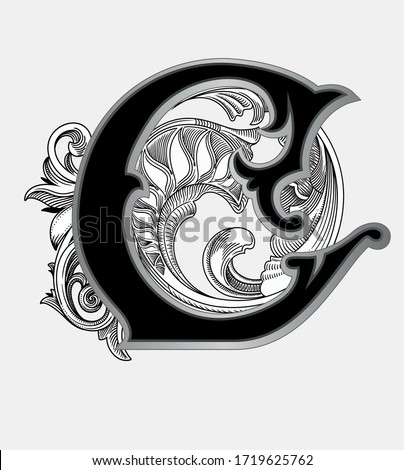 Vector illustration of uppercase letter with decorations isolated on white background.Antique Letter C with baroque ornamentation. Elegant black capital letter to use monograms, logos,emblems,fonts Stockfoto ©
