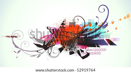 Vector illustration of urban background with grunge stained Design elements