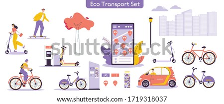 Vector illustration of urban eco transport set. Bundle of character man, woman riding electric kick scooter, bicycles, skateboards, driving car, using rental service mobile app. Modern urban lifestyle