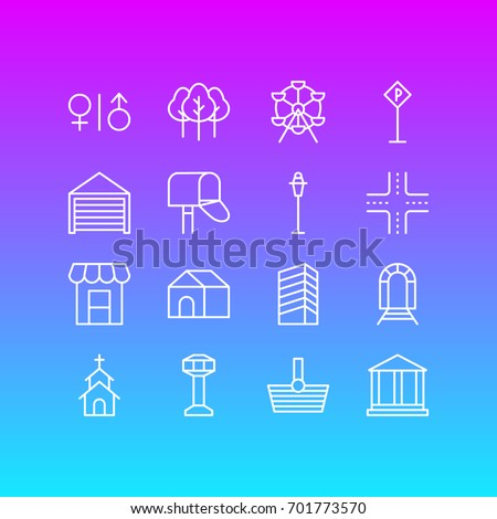 Vector Illustration Of 16 Urban Icons. Editable Pack Of Parking, Mail Box, Control Tower And Other Elements.