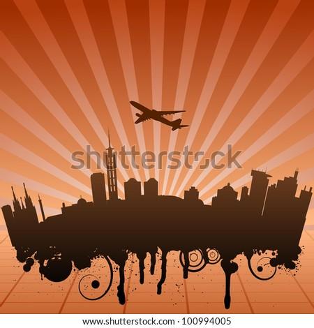 Vector illustration of urban landscape of Jakarta