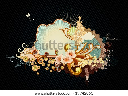 Vector illustration of urban retro styled background made of floral and ornamental elements.