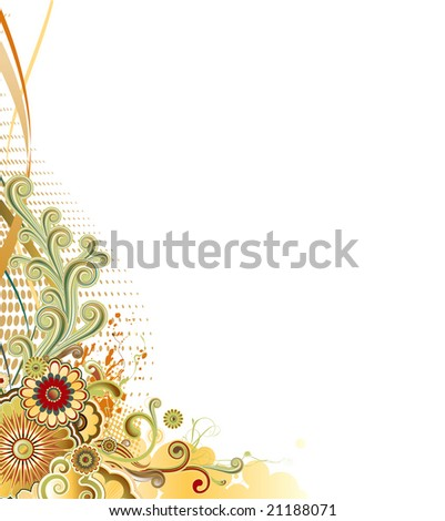 Vector illustration of urban retro styled design made of floral and ornamental elements.