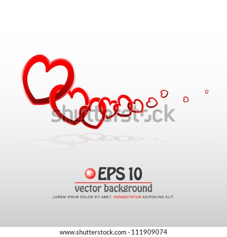 vector illustration of valentine heart chain