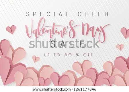 Vector illustration of valentine's day promotion banner template with hand lettering label - happy valentine's day - with paper origami heart shapes.