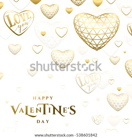Vector illustration of valentines day golden greeting card with typography text sign circled burst, triangle line grid gold heart isolated on red background in luxury style