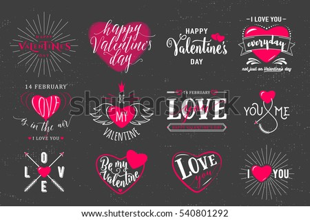 Vector illustration of valentines day typography lettering logo set. Hipster emblems, quote text design with hearts, arrow, burst. Use for banners, greeting cards, gifts, poster