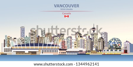 Vector illustration of Vancouver city skyline on colorful gradient beautiful day sky background with flag of Canada