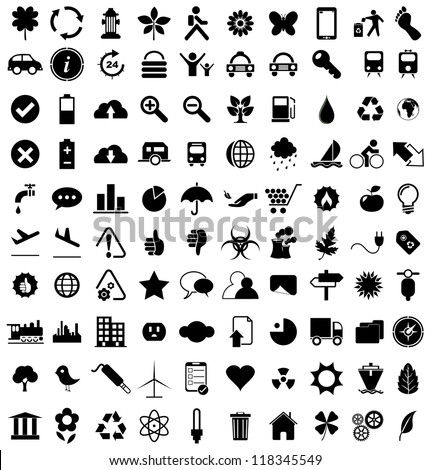 Vector illustration of various black eco icons.