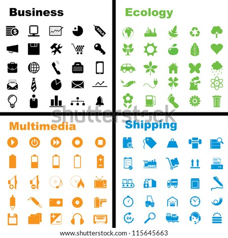 Vector illustration of various business, ecology, multimedia and shipping icons.