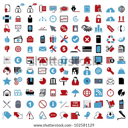 Vector illustration of various business, financial, entertainment, office, internet and computer icons.