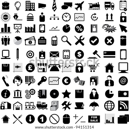 Vector illustration of various business, financial, office and web icons.