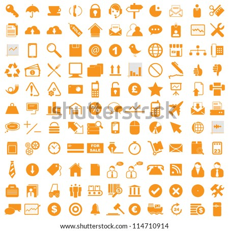 Vector illustration of various business, media, internet icons.
