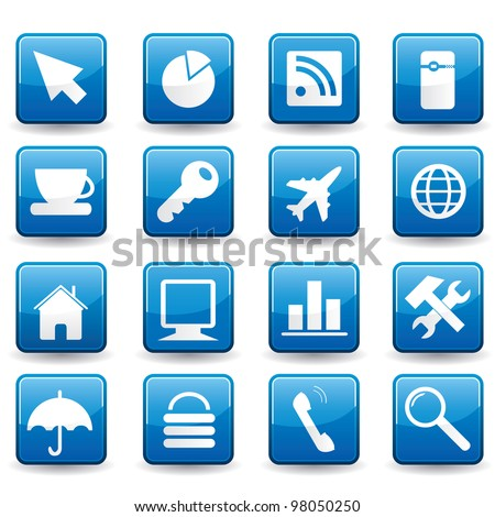 Vector illustration of various business, office, web icons.