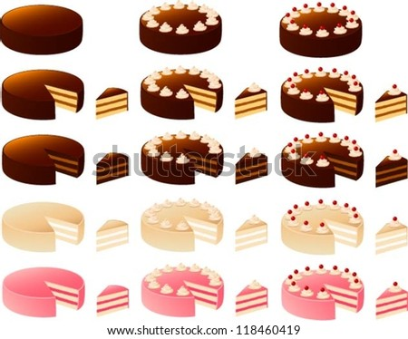 Vector illustration of various cakes.