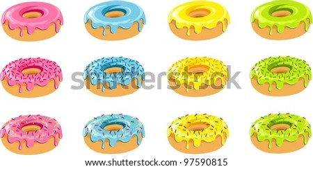 Vector illustration of various colorful donuts.