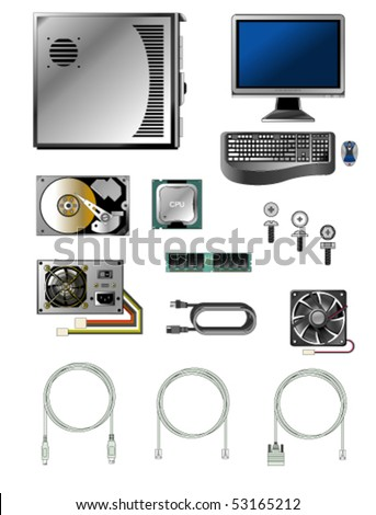 Vector illustration of various computer parts and accessories - stock vector