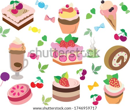 Vector illustration of various desserts. Illustrations of cakes and ice cream will decorate your logo, objects, and things (T-shirts).
