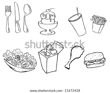 vector illustration of various food icons