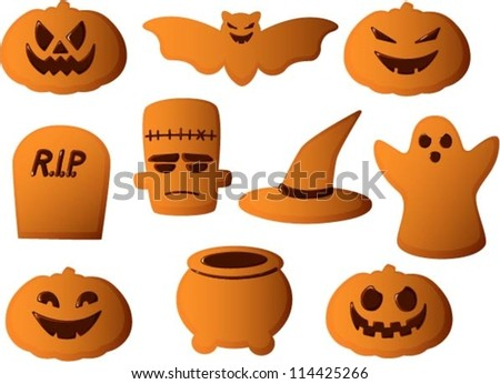 Vector illustration of various halloween cookies with decorations isolated on white. - stock vector