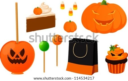 Vector illustration of various halloween items isolated on white.