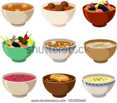 Vector illustration of various international soups