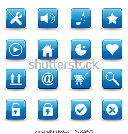Vector illustration of various internet, computer, business icons.