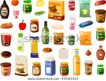 Vector illustration of various items bought in a supermarket.