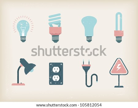 Vector illustration of various lamps