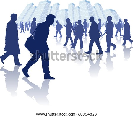vector illustration of various people walking through a city environment. All individual elements are separately grouped and layered for easy editing.