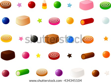Vector illustration of various pieces of candy.