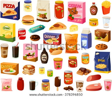 Vector illustration of various processed food items.