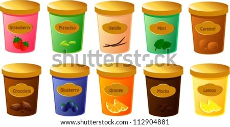 Vector Illustration Of Various Tubs Of Ice Cream In