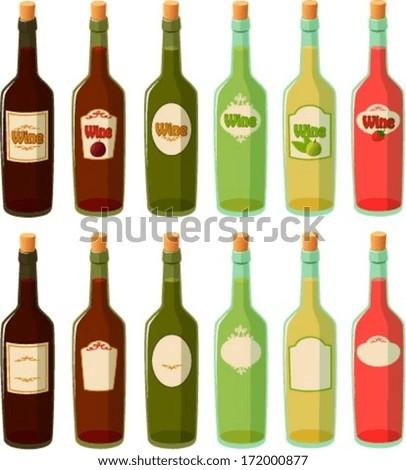 Vector illustration of various wine bottles. #172000877