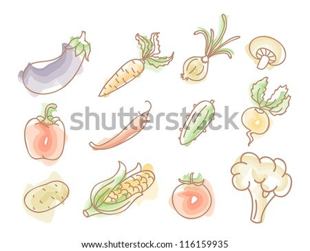 Vector illustration of Vegetables colorful doodles set