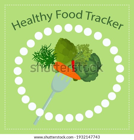 vector illustration of vegetables on a fork. The concept of healthy and healthy food. Challenge for a month of proper nutrition and diet ストックフォト ©